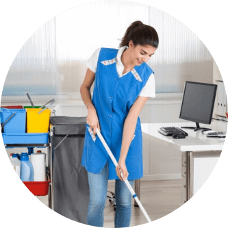 lady cleaning in the office