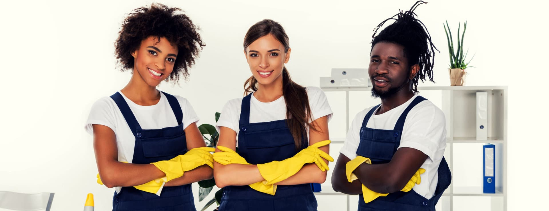 group of cleaners smiling