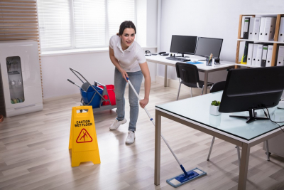 a lady cleaning