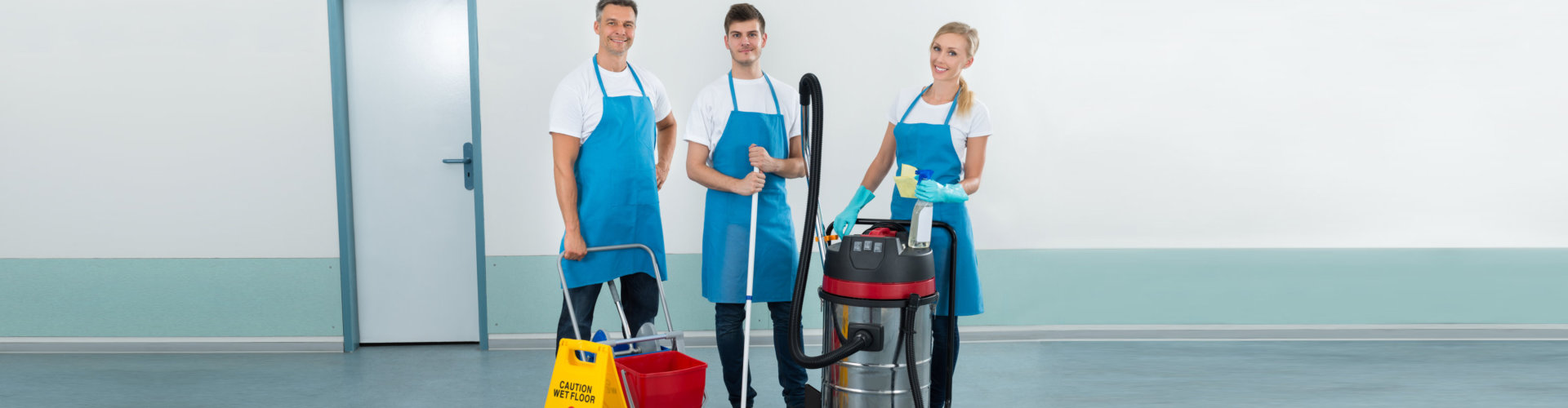 cleaning staff smiling